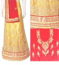 Cream & Red Lehenga Choli Set | Red Dupatta with Red Blouse Piece | Semi Stitched | Buy Now