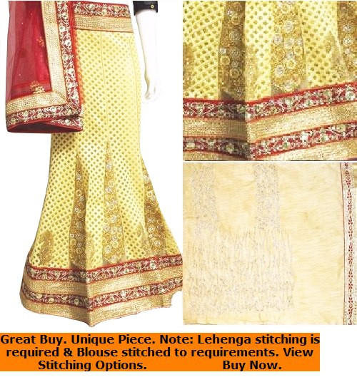 Lehenga Set in Butter Cream with Red Dupatta | Gold Blouse | Delicate design works | Buy Now