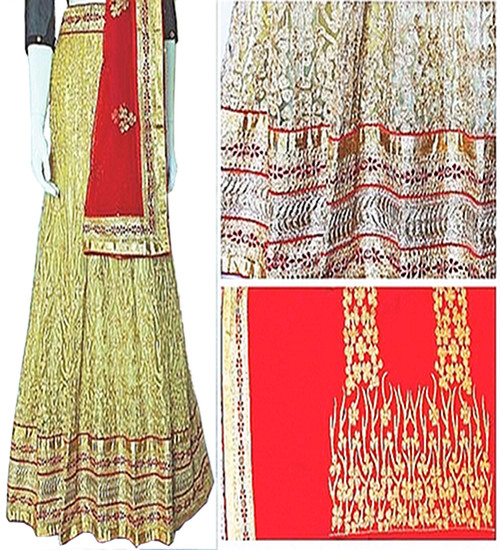 Lehenga Set in Butter Cream with Red Dupatta   Red Blouse   adorned with Stone artwork   Buy Now  Semi Stitched