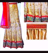 Lehenga Set in Red Gold & Cream with Red Dupatta | Gold Blouse | Intricate artwork all around | Buy Now |Semi Stitched