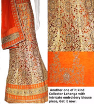 Cut work orange Lehenga Choli Set | Orange Dupatta & Blouse Piece | Semi Stitched  | Blouse is not stitched