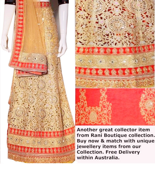 Cut work Red Lehenga Choli Set | Gold Dupatta  with Red Blouse Piece | Semi Stitched  | Blouse is not stitched