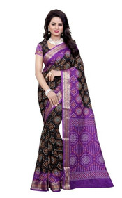 Black and Purple designer 2019 Bandhani Silk Saree by Bedazzledbyrani