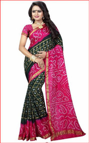 Bottle green & Hot Pink designer 2019 Bandhani Silk Saree by Bedazzledbyrani