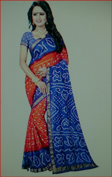 Red & Royal Blue designer 2019 Bandhani Silk Saree by Bedazzledbyrani