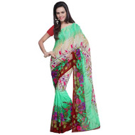 Buy Now   Green Georgette Saree    Matching Blouse Piece   Free Delivery Australia wide