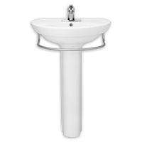 American Standard Ravenna 24 Inch Pedestal Lavatory Sink with Towel Bar in White 08AMS-0268802-020