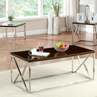 Furniture of America Kuzen 3 Piece Coffee Table Set in Espresso / Chrome