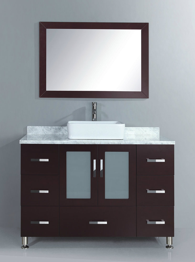 "48 Bathroom Vanity With Top: 48"" Bathroom Vanity Cabinet In Espresso With Vessel Sink"
