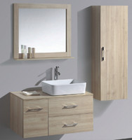 "35-1/4"" Wall Mount Bathroom Vanity Cabinet with Mirror and Side Cabinet 08SU-SLT-T603-1"