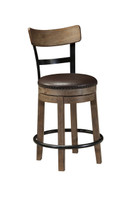Ashley Pinnadel Upholstered Counter Height Swivel Bar Stool in Light Brown