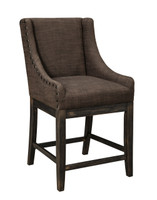 Ashley Moriann Upholstered Counter Height Bar Stool in Dark Brown (25AS-D608-424)