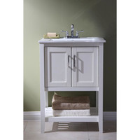 "Active Home Centre 24"" Super Combo White Vanity with White Ceramic Top (08RA-SUPCOM24WH-WH)"
