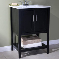 "Active Home Centre 24"" Super Combo Black Vanity with White Ceramic Top  (08RA-SUPCOM24BL-WH)"