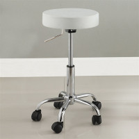 "Ascon Adjustable (Up to 27"") Swivel Stool in White"