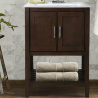 "Active Home Centre 24"" Super Combo Antique Coffee Vanity with White Ceramic Top (08RA-SUPCOM24AC-WH)"