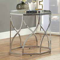 Furniture of America Evaline End Table in Chrome