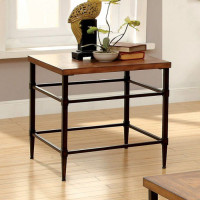 Furniture of America Herrick End Table in Light Oak