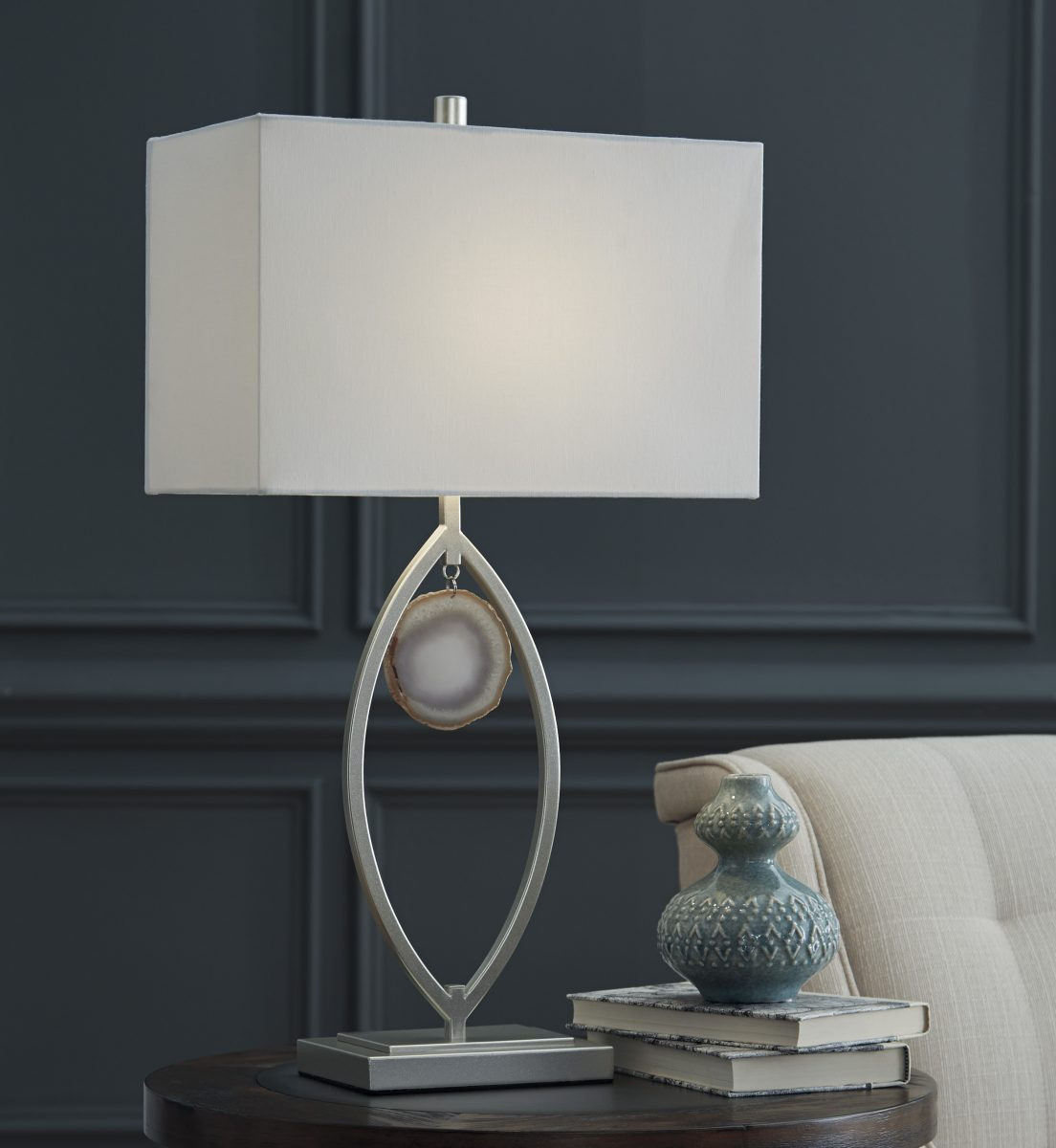Ashley Lindsy Set Of 2 Table Lamps In Silver