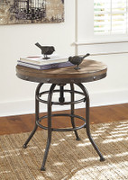 Ashley Vennilux Round End Table in Grayish Brown