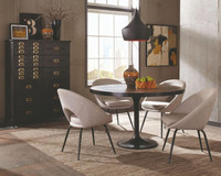 Coaster Mayberry Round Dining Table in Brown and Black