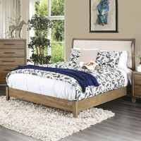 Furniture of America Enrico I King Upholstered Bed Frame in Light Oak