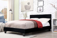 Furniture of America Sims King Upholstered Bed Frame in Black