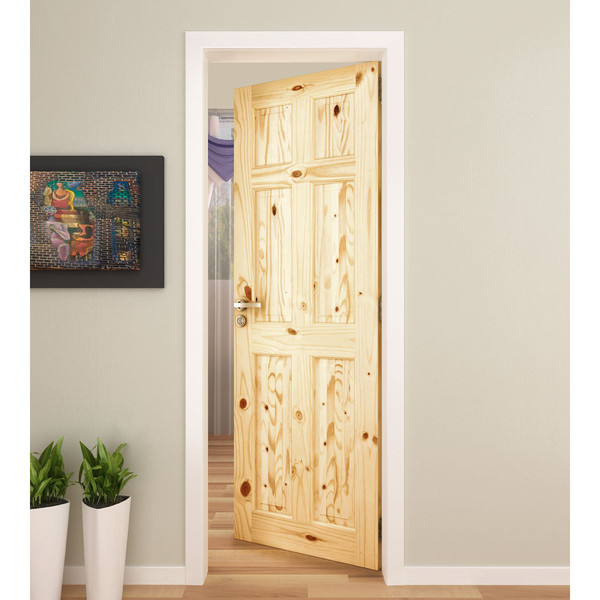 """Knotty Pine Cabinet Doors: Active Home Centre Colonial 6 Panel 30""""x 80"""" Knotty Pine Door"""