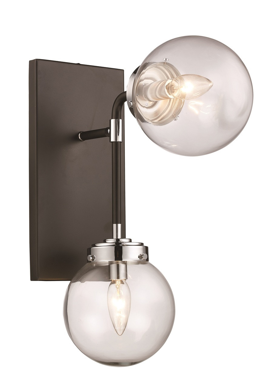 Active Home Centre 2 Light Wall Sconce In Polished Chrome And Black