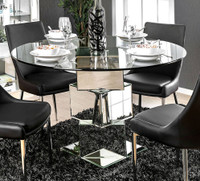 Furniture of America Izzy Dining Table in Silver