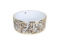 Active Home Centre Countertop Art Vessel in Beige Mosaic and White