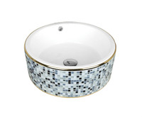 Active Home Centre Countertop Art Vessel in Blue Mosaic and White