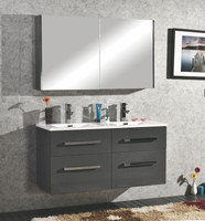 "Active Home Centre 48"" Double Wall Hung Vanity with Mirror in Gray"