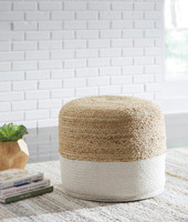 New Arrival - Ashley Sweed Valley Pouf in Natural and White
