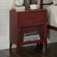 Furniture of America Haldus Nightstand in Distressed Red