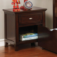 Furniture of America Brogan Nightstand in Brown Cherry
