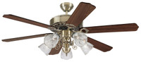 "New Arrival - Active Home Centre 52"" Ceiling Fan with Light Kit in Antique Brass"