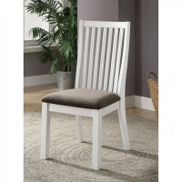 Furniture of America Kathleen Side Chair in White and Dark Gray