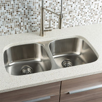 "Active Home Centre 32"" Undermount Kitchen Double Sink in Stainless Steel"