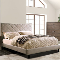 New Arrival - Furniture of America Estarra King Upholstered Bed frame in Beige