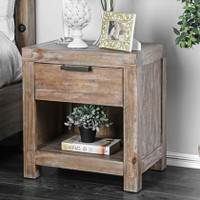 New Arrival - Furniture of America Wynton Nightstand in Weathered Light Oak
