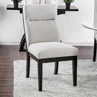 Furniture of America Jasmin Upholstered Side Chair in Black and White