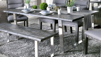 Furniture of America Mandy Dining Room Table in Grey
