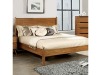 New Arrival - Furniture of America Lennart King Panel Bed Frame in Oak