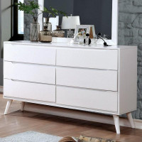 Furniture of America Lennart II 6 Drawer Dresser in White