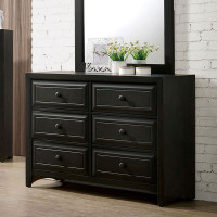 Furniture of America Kirsten 6 Drawer Dresser in Charcoal