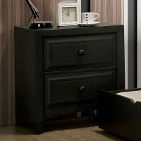 Furniture of America Kirsten 2 Drawer Night Stand in Charcoal