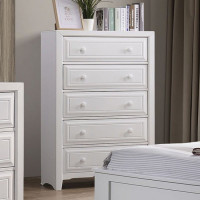 Furniture of America Kirsten 5 Drawer Chest in White