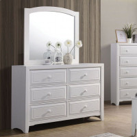 Furniture of America Kirsten 6 Drawer Dresser in White