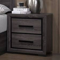 Furniture of America Conwy 2 Drawer Night Stand in Gray